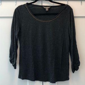 Tommy Bahama blouse dark gray with gold shimmer!